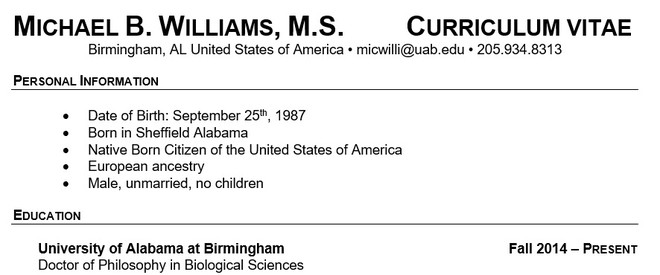 Michael Williams CV